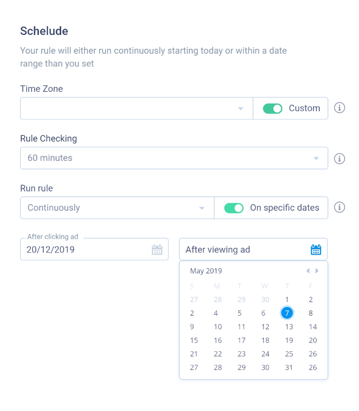 Flexible Rule Scheduling