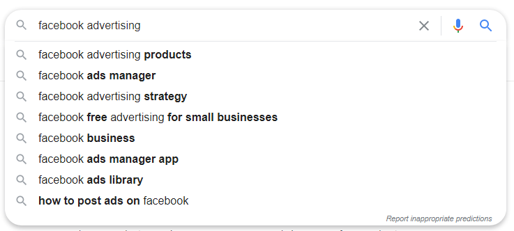 Google keyword suggestions for to research interest-based Facebook audiences