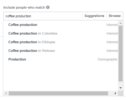 Facebook coffee production interest example
