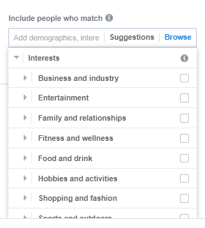 browsable Facebook interests list