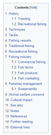 Wikipedia table of contents for Facebook Interests research