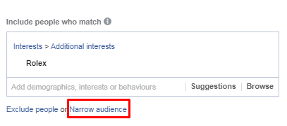 Narrow audience Facebook interest targeting